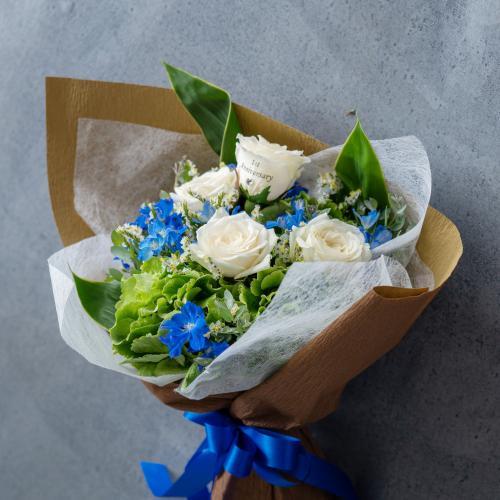 【花に記念日プリント】季節のブーケ サムシングブルー Sサイズ
