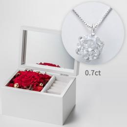 スペシャルセットギフト オルゴールジュエリーボックス≪レッド≫と0.7tダイヤモンドネックレス