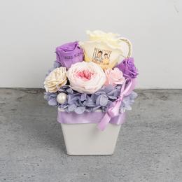 【フォトローズ】パステルプリザーブドフラワーアレンジM ≪ヴァイオレット≫ 紫のバラ