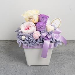 【フォトローズ】パステルプリザーブドフラワーアレンジL ≪ヴァイオレット≫ 紫のバラ