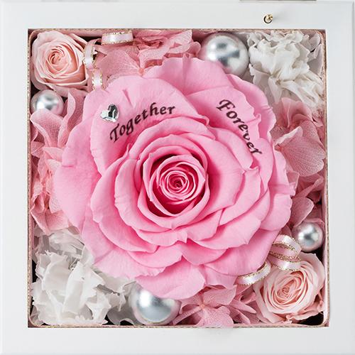高級ホワイトオルゴールBOX お花イッパイ! プリザーブドフラワー≪ピンク&ホワイト≫