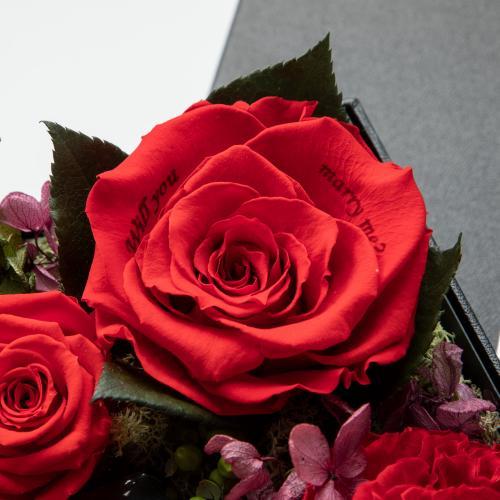 【プロポーズ】ボックスフラワー グロリアスL ブライトレッド