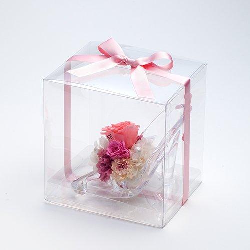 【メッセージローズ】シンデレラの靴 お花イッパイ!プリザーブドフラワーアレンジ≪ピンク≫