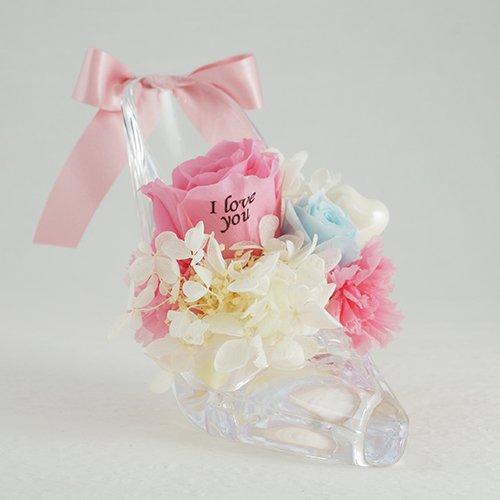 【メッセージローズ】シンデレラの靴 お花イッパイ!プリザーブドフラワーアレンジ≪シャーベットピンク≫