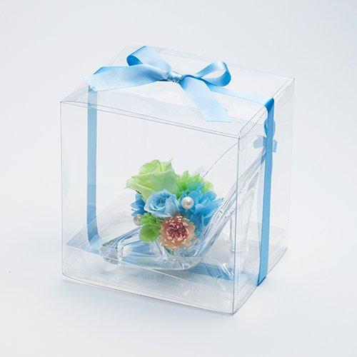 【メッセージローズ】シンデレラの靴 お花イッパイ!プリザーブドフラワーアレンジ≪ブルー≫