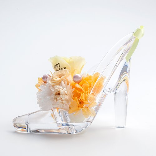 【メッセージローズ】シンデレラの靴 お花イッパイ!プリザーブドフラワーアレンジ≪オレンジ≫