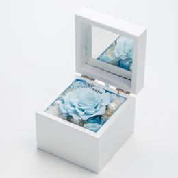 高級ホワイトオルゴールBOX お花イッパイ!プリザーブドフラワー≪ソーダ≫