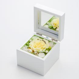 高級ホワイトオルゴールBOX お花イッパイ!プリザーブドフラワー≪リモーネ≫