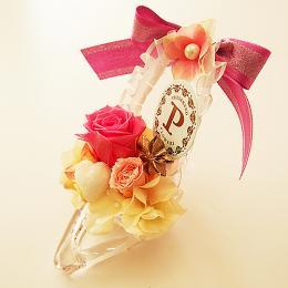 【メッセージローズ】「酒井美紀デザイン」シンデレラの靴 お花イッパイ!≪ピンク≫