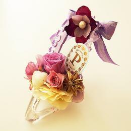 【メッセージローズ】「酒井美紀デザイン」シンデレラの靴 お花イッパイ!≪ヴァイオレット≫
