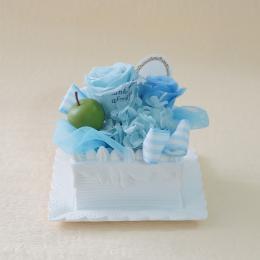 【メッセージローズ】青りんごのホイップクリームスクエアプリザーブドフラワーケーキ≪ブルー≫