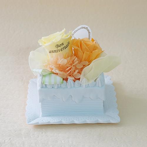 【メッセージローズ】オレンジのホイップクリームスクエアプリザーブドフラワーケーキ≪オレンジ≫