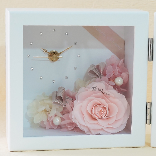 【花に記念日プリント】ピクチャークロック&プリザーブドフラワー≪ピンク≫