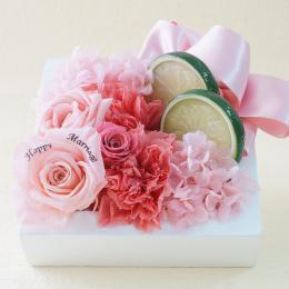 【メッセージローズ】フレッシュフレームプリザーブドフラワーアレンジS≪ピンク≫