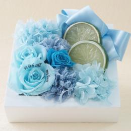 【メッセージローズ】フレッシュフレームプリザーブドフラワーアレンジS≪ブルー≫